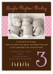 Triplets Chocolate Photo GGG Birthday Invitation
