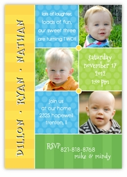 Triplets Collage Photo BBB Birthday Invitation