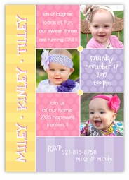 Triplets Collage Photo GGG Birthday Invitation