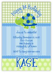 Turtle First Birthday Personalized Invitations