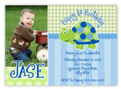 Turtle First Birthday Personalized Photo Invitations