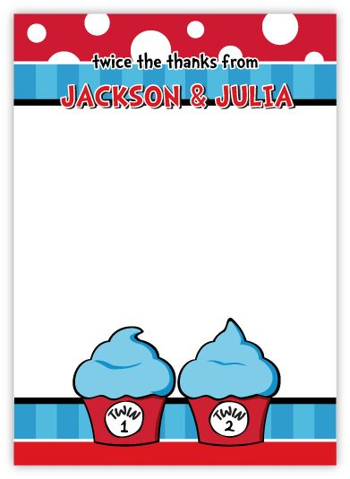 Twin 1 Twin 2 Cupcakes Twins Thank You Note Card