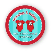 """Twin 1 & Twin 2 Onesies Twins Names Baby Shower 2.25"""" Stickers"""