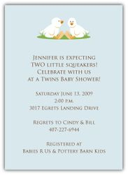 Twin Boy Ducklings Baby Shower Invitation