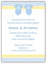 Twin Boys Onesies Baby Shower Invitation