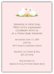 Twin Girl Ducklings Baby Shower Invitation