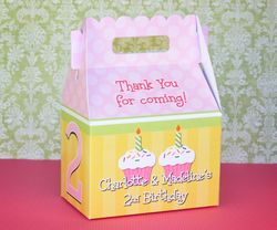 Twin Girls Birthday Cupcakes<br>Personalized Gable Box Party Favor