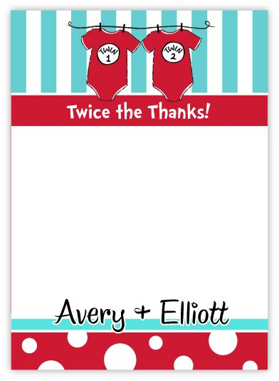 Twins Dr. Seuss Onesies Baby Shower Thank You Note Card