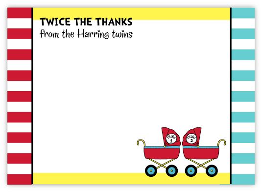 Twins Dr. Seuss Prams Baby Shower Thank You Note Card