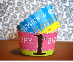 Twins First Birthday Collage<br>Personalized Cupcake Wrappers / Covers