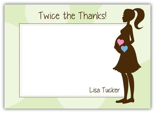 Twins Mod Momma Baby Shower Thank You Note Card