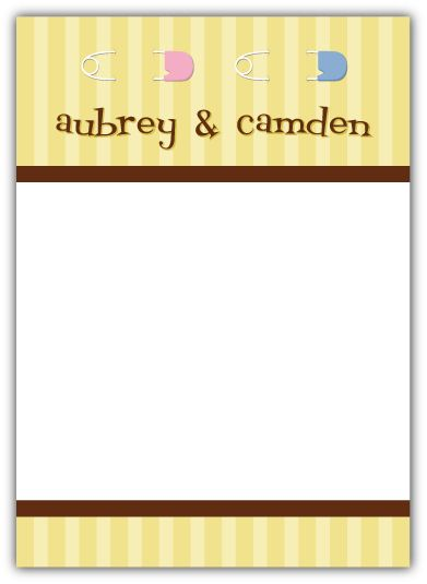 Twins Pins Boy-Girl Baby Shower Thank You Note Card