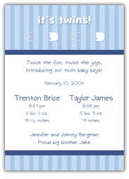 Twins Pins Twin Boys Birth Announcement