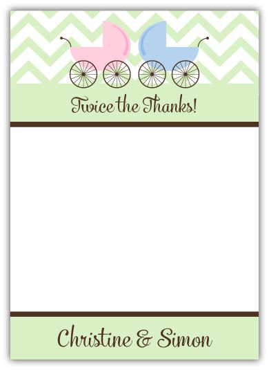 Twins Precious Prams Baby Shower Thank You Note Card