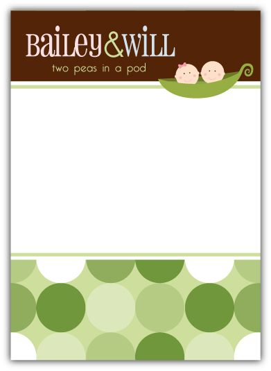 Twins Two Peas in a Pod Baby Shower Thank You Note Card