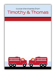 Two Fire Trucks Boys Thank You Note Card