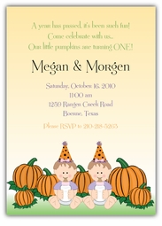 Two Lil Punkins Girl Twins Halloween Birthday Invitation