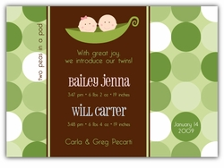 Two Peas Girl-Boy Twins Birth Announcement
