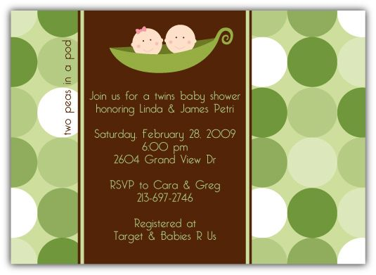 Two Peas in a Pod Girl-Boy Twins Baby Shower Invitation