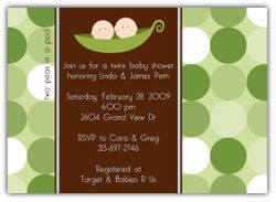 Two Peas in a Pod Twin Boys Baby Shower Invitation