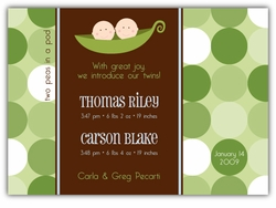 Two Peas Twin Boys Birth Announcement