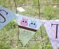 WHOO Loves Baby Owl Theme<br>Personalized It's Twins Baby Shower Banner