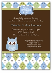 Whoo Loves You Baby Boy Shower Invitation, matches theme from Party City