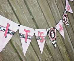 Zebra Diva Baby Girl<br>Personalized It's Twins Baby Shower Banner