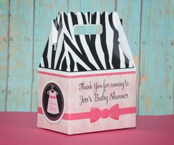 Zebra Print Baby Girl with Dress<br>Personalized Baby Shower Favor Box