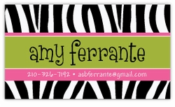 Zebra Print with Pink Calling Card