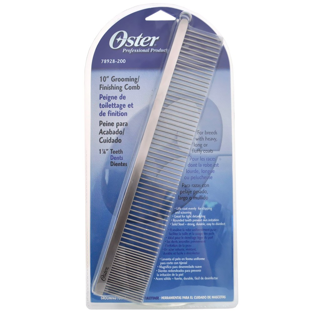 "10"" Finishing Comb Cross the finish line with ease? the grooming line that is! Remove tangles and dead undercoat, prevent skin irritations, and lift Cobs easily for clipping and scissoring with this strong, durable finishing comb. Features & Options 10"" Finishing/Grooming Comb For breeds with heavy, long or fluffy coats Rounded teeth on combs prevent skin irritation Solid Steel - Strong, durable and easy to use"