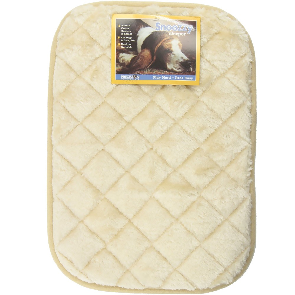 Precision Pet Products SnooZZy Sleeper Natural Pads are great for your home, car, or crate. Pets Love Them in Crates, Carriers, Dog Houses, SUVs, or Anywhere? Completely Machine Washable? Luxurious Plush Fabric? Non-Skid Backing? Roll Up for Traveling? Available in Six Sizes? For Dogs & Cats, Too Washing Instructions: Machine Wash Cold, Gentle Cycle, Wash Separately, No Bleach, Dry Flat