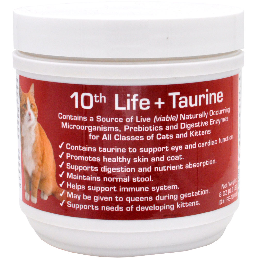 10th Life + Taurine is a dietary supplement with all natural Microencapsulated bacteria, enzymes, yucca and dried egg yolk. With 10th Life + Taurine, your cat will maintain healthy skin and coat as well as a healthy digestion and nutrient absorption. Safe to feed to kittens or queens during gestation and nursing, 10th Life + Taurine will also minimize litter box odors. This product is intended for intermittent or supplemental feeding only Contains no drugs, antibiotics or preservatives. Can be used during gestation, lactating and nursing. Can be used during antibiotic treatment. Contains a Source of Live (viable) Naturally Occuring Microorganisms, Prebiotics and Digestive Enzymes for All Classes of Cats and Kittens. Contains taurine to support eye and cardiac function. Promotes health skin and coat. Supports digestion and nutrient absorption. Maintains normal stool. Helps support immune system. May be given to queens during gestation. Supports needs of developing kittens.