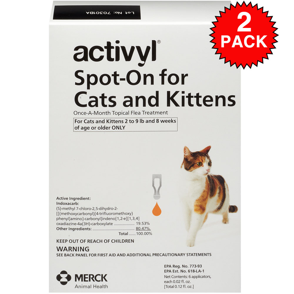 Activyl Spot-On for Cats is the first topical flea treatment to contain indoxacarb, an innocative active ingredient that activates using enzymes inside the flea. Once in contact with the parasites, Activyl's full flea-killing power is activated to eliminate all adult fleas and break the flea life cycle once and for all. The waterproof, fragrance-free formula keeps your kitty protected and itch-free for a full 4 weeks. Features innovative active ingredients and mode of action. Fast-acting. Starts killing fleas within 8 hours. Breaks the flea life cycle to prevent reinfestation Quick-drying and fragrance-free. Waterproof, remains effective after shampooing and bathing.