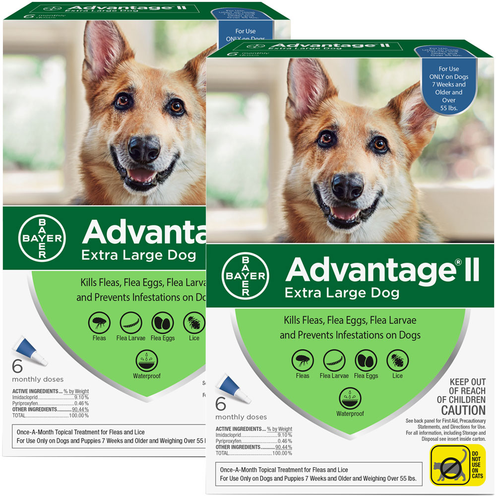 The new and improved Advantage II now offers flea and lice protection for your dog. Flea and lice treatment with Advantage II gives your dog a safe solution that only needs to be applied once a month. Dogs and puppies older than 7 weeks and weighing over 55 lbs are fit for this flea and lice killing formula. This formula will kill fleas completely by eliminating their eggs and larvae by using a variety of ingredients and compounds. It contains a fast-acting formula that kills fleas quickly and prevents them from returning. Advantage II uses the compound pyriproxyfen to kill fleas and other insects by interfering with their maturity cycle. Targeting insects, pyriproxyfen does not affect mammals. Other flea killing properties like adulticidal, larvicidal, and ovicidal kill fleas and prevent them from emerging again. Imidacloprid paralyzes fleas so they are killed before biting your dog and also reduce the incidence of flea-related allergies. Kills adult fleas within 12 hours and re-infe