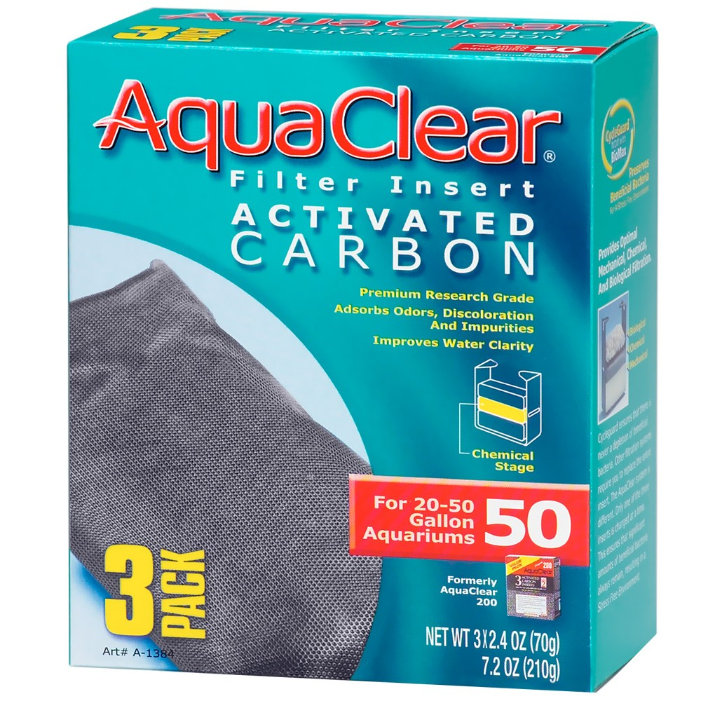 Aquaclear 50 Filter Insert Activated Carbon 3 Pack On