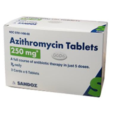 Azithromycin Tabs 250mg Z Pack 3x6 Tabs By Generic Brand May Vary