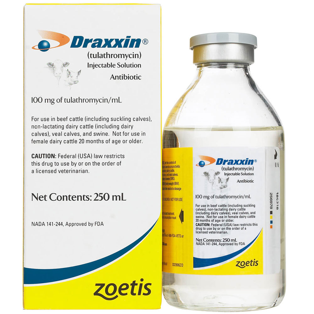 Image of Draxxin (Tulathromycin) Injectable Solution, Antibiotic 100mg (250 mL)