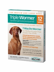 Durvet Triple Wormer for Medium & Large Dogs Over 25 lbs (12 Flavored Tablets)