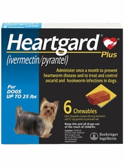Heartgard Plus for Dogs - Up to 25 lbs (6 Chews)