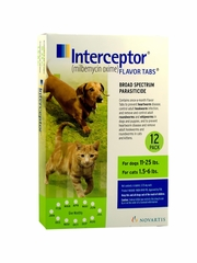 Interceptor for Dogs 11-25 lbs & Cats 1.5-6 lbs (Green) - 12 Flavor Tabs