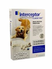 Interceptor for Dogs 51-100 lbs & Cats 12.1-25 lbs (White) - 12 Flavor Tabs