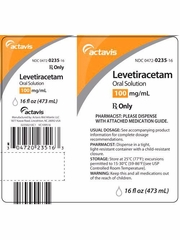Levetiracetam Oral Solution 100mg/mL (473 ml) (Manufacturer may vary)