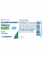 Levetiracetam Tab 250mg (120 tablets) (Manufacturer may vary)