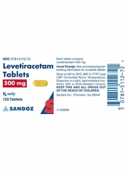 Levetiracetam Tab 500mg (120 tablets) (Manufacturer may vary)