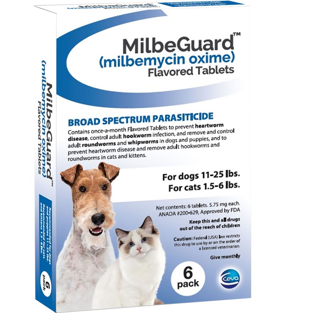 MilbeGuard Flavored Tablets for Dogs 11-25 lbs & Cats 1.5 ...