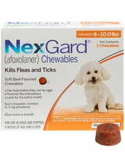 NexGard Chewables for Dogs 4-10 lbs (3 Chews) Orange