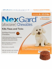NexGard Chewables for Dogs 4-10 lbs (6 Chews) Orange