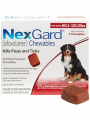 NexGard Chewables for Dogs 60.1-121 lbs (3 Chews) Red
