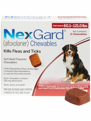 NexGard Chewables for Dogs 60.1-121 lbs (6 Chews) Red